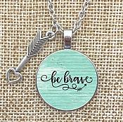 Necklace Pendant Be Brave Arrow Charm Inspirational Jewelry w/ Silver Chain JW241