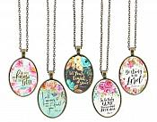 Christian Necklace Pendant Scriptures Inspirational Motivational Quotes Antique Gold Oval Victorian Jewelry JW247 - JW251