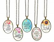 Inspirational Necklace Pendant Scriptures Motivational Christian Quotes Antique Gold Oval Victorian Jewelry JW267 - JW271