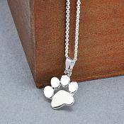 Silver Paw Costume Necklace Jewelry (JW28)
