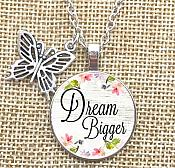 Dream Bigger Pendant Necklace Inspirational Motivational Quotes Silver Butterfly Charm Jewelry JW295