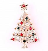 Gold Christmas Tree Brooch with Rhinestones Holiday Pin Jewelry  JW299