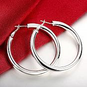 "Sterling Silver Plated Earrings 925 Stamped Hoop Style Jewelry 1.5"" (JW33)"