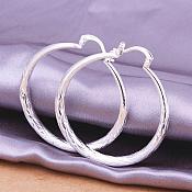 "Textured Hoop Earrings 925 Sterling Silver Plated Stamped  Jewelry 1.5"" (JW31)"