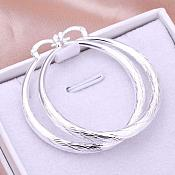 "Textured Hoop Earrings 925 Sterling Silver Plated Stamped  Jewelry 1.5"" (JW31)"