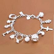 Charm Bracelet 925 Sterling Silver Stamped Jewelry So Cute!  (JW32)
