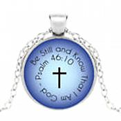 Scripture Be Still & Know Pendant Necklace Cross Inspirational Motivational Quotes Silver Jewelry JW335