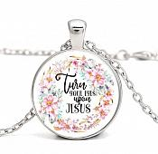 Turn Your Eyes Upon Jesus Pendant Necklace Inspirational Motivational Quote Silver Jewelry JW341