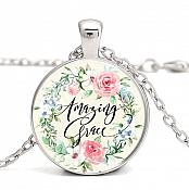 "Victorian Necklace ""Amazing Grace"" Pendant Inspirational Christian Jewelry JW343"