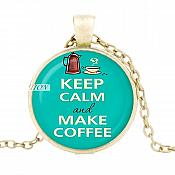 Keep Calm and Make Coffee Pendant Necklace Fashion Costume Jewelry with Gold Chain JW348