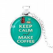 Keep Calm and Make Coffee Pendant Necklace Fashion Costume Jewelry with Silver Chain JW348