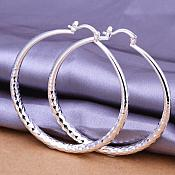 "Textured Hoop Earrings 925 Sterling Silver Plated Stamped Jewelry 2"" JW349"
