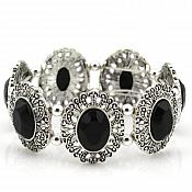 Silver Victorian Bracelet With Black Stones Costume Jewelry JW36