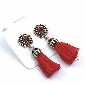 "Red Tassel Earrings Red Crystal Gold Metal Jewelry 2"" (JW41)"
