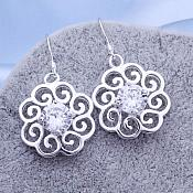 Earrings Sterling Silver Crystal Rhinestone Flower Dangle Jewelry (JW17)