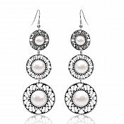 "Pearl Earrings Silver Metal Dangle Style Triple Circle Jewelry Trendy Fashion 2.75"" (JW46)"