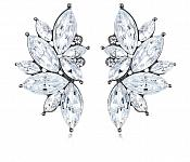 "Crystal Earrings Marquise Stones Stud Style Gun Metal Back Jewelry 1.75"" (JW45)"