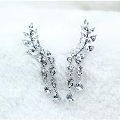 "Silver Earrings Leaf Crystal Rhinestone Stud Style Jewelry 2"" (JW52)"