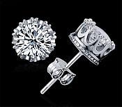 Rhinestone Earrings in Silver Settings Stud Style JW53