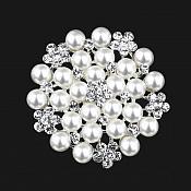 Bridal Silver Rhinestone Brooch Floral White Pearl Cluster Pin JW57