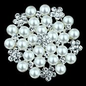 Bridal Silver Rhinestone Brooch Floral Ivory Pearl Cluster Pin Costume Jewelry JW57