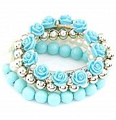 Set of 5 Stretchy Bracelets Light Blue Roses Rhinestones Pearls Gold Beaded JW58