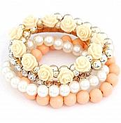 Set of 5 Stretchy Bracelets Peach Roses Rhinestones Pearls Gold Beaded JW58