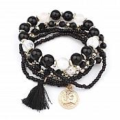 Set of 6 Stretchy Beaded Bracelets Black Gold White w/ Tassel and Gold Charm  JW59