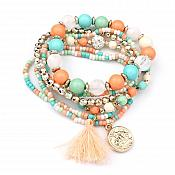 Set of 6 Stretchy Beaded Bracelets Multi-Color Gold w/ Tassel and Gold Charm  JW59