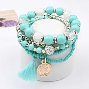 Set of 6 Stretchy Beaded Bracelets Turquoise Gold White w/ Tassel and Gold Charm  JW59