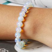 Stretchy Bracelet Frosted White Beads Costume Jewelry JW64
