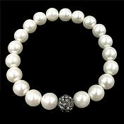 Stretchy Bracelet Pearls With Single Black Sparkling Bead Fashion Costume Jewelry JW65