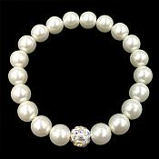Stretchy Bracelet Pearls With Single Crystal AB Sparkling Bead Fashion Costume Jewelry JW65