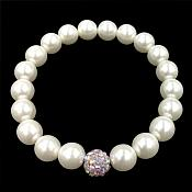 Stretchy Bracelet Pearls With Single Mauve Sparkling Bead Fashion Costume Jewelry JW65