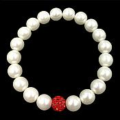 Stretchy Bracelet Pearls With Single Red Sparkling Bead Fashion Costume Jewelry JW65