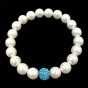 Stretchy Pearl Bracelet With Single Turquoise Sparkle Bead Trendy Jewelry  JW65