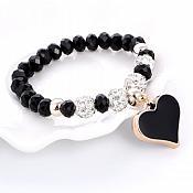 Stretchy Black Bracelet Heart Charm Crystal Rhinestone White Beaded Costume Jewelry JW68