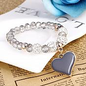 Stretchy Gray Bracelet Heart Charm Crystal Rhinestone White Beaded Costume Jewelry JW68