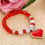 Stretchy Red Bracelet Heart Charm Crystal Rhinestone White Beaded Costume Jewelry JW68