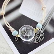 Bracelet Light Blue Beaded Tan Cord Silver Leaf Charm Dandelion Pendant Costume Jewelry JW70