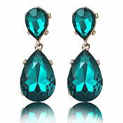 Teal Dangle Style Earrings Gold Backing Costume Jewelry JW76