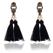 Black Tassel Style Earrings Gold Costume Jewelry JW77