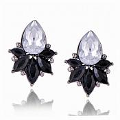 Black Earrings in Gunmetal Settings w/ Large Acrylic Crystal Stone Costume Jewelry JW80