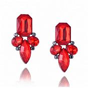 Earrings in Gunmetal Settings w/ Large Acrylic Red Stones Costume Jewelry JW82