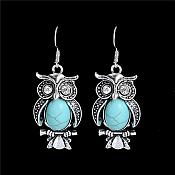Owl Dangle Earrings in Antique Silver Settings w/ Turquoise Stones Costume Jewelry JW84