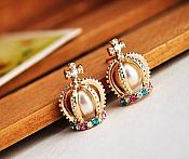 Crown Earrings in Gold Settings Filled w/ Beautiful Pearls Surrounded by Multi-Color Rhinestones Costume Jewelry JW85