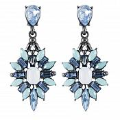 Dangle Earrings in Gunmetal Settings w/ Blue Tone Stones Costume Jewelry JW86