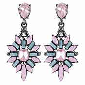 Dangle Earrings in Gunmetal Settings w/ Pink and Teal Tone Stones Costume Jewelry JW86