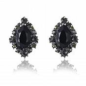 Black Earrings in Gunmetal Settings Victorian Style Costume Jewelry JW90