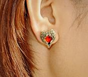 Heart Angel Wing Earrings in Gold Settings w/ Beautiful Red Stones Costume Jewelry JW92